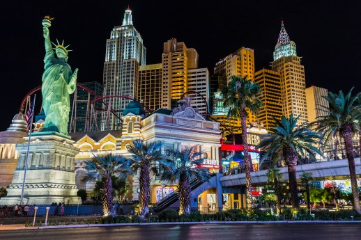 View of New York-New York hotel and casino at night